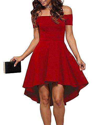 Damen Schulterfreies Kleid Elegant Skaterkleid Kurz Cocktailkleid Asymmetrisch Abenkleid Festlich Partykleid (36, Rot)