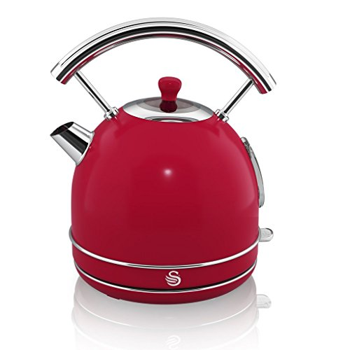 Swan RED Kitchen Appliance Retro Set of 9 – RED Retro Digital Microwave, 20 Litre, 800 Watt, RED 1.7 Litre Dome Kettle & RED Retro Stylish 4 Slice Toaster, Retro Bread bin, 3 Canisters, Towel Pole and 6 Mug Tree Set