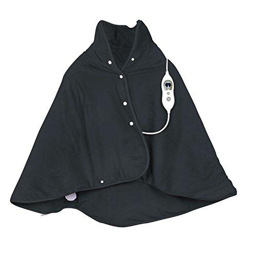 VIDABELLE 12368 Wärme-Cape, Heizdecke zum rüberlegen für Rücken, Nacken und Schulter, inkl. Abschaltautomatik und maschinenwaschbar, Dunkelgrau