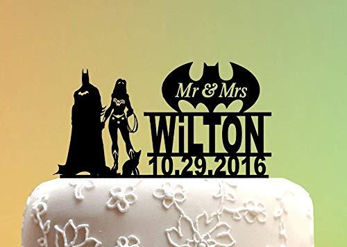 Topper Super Woman Tortenaufsatz Batman Hochzeit Kuchen Topper Topper Hochzeit Superhelden Hochzeit M101020 ()