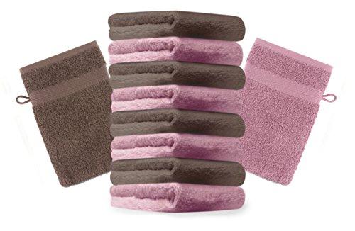 Betz lot de 10 gants de toilette taille 16x21 cm 100% coton Premium couleur vieux rose, marron noisette