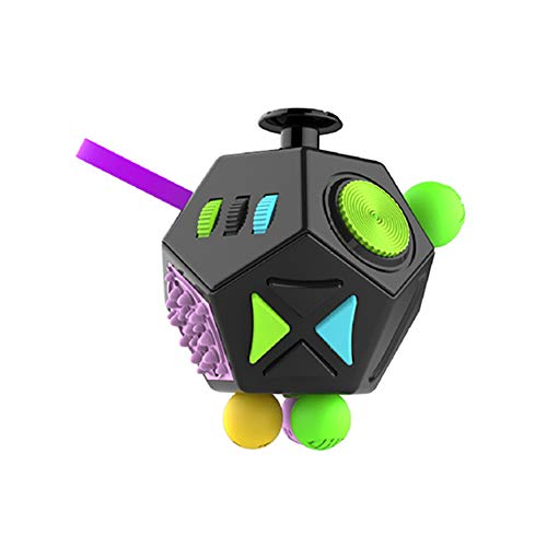 Naisidier 1pc Stress Reliever Fidget Cube Handle Toy 12 Side Fidget Toy Cube Relieves Stress and Anxiety Anti Depression Cube for Children and Adults Green Home Garden Kitchen Christmas Decoration