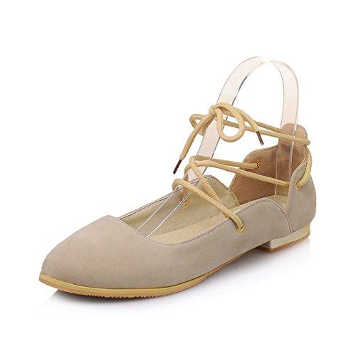 CXQ-Heels QIN&X Frauen Weichen Armband Runder Flachem Absatz Flach Mund Schuhe Pumps, Beige, 39