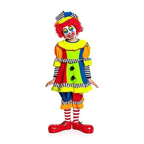 Kostümplanet® Clown-Kostüm Kinder Mädchen + Clown-Mütze Faschings-Kostüm Größe 164