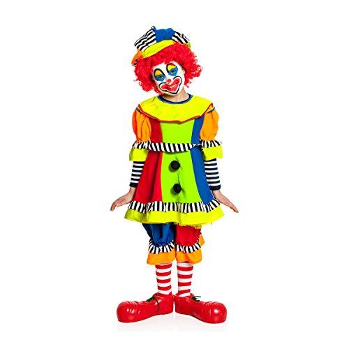 Kostümplanet Clown-Kostüm Kinder Mädchen + Clown-Mütze Faschings-Kostüm Größe 104