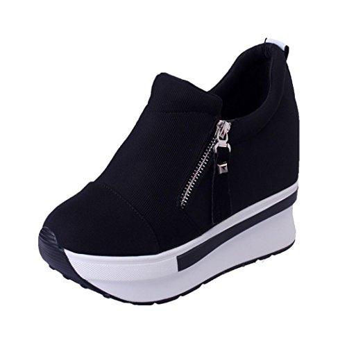 buy online 4d501 ffa57 UOMOGO Sneakers Zeppa Interna Donna Scarpe da Ginnastica Basse Sportive  Fitness Tacco Zeppa 5.5 cm Nero