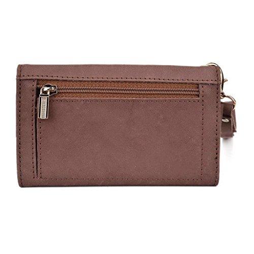 Kroo Pochette en cuir véritable téléphone portable Housse de protection d'écran Gionee Elife s5.1d/E7Mini Marron - marron Marron - peau