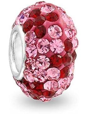 Bling Jewelry 925 Silber Farbe Rubin Blume Swarovski Kristall Bead