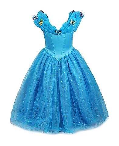 ReliBeauty - Robe - Fille - Princesse Cinderella Maxi 9189 Costume d'halloween cosplay Déguisement pour fille princesse Tenue magnifique - Bleu – 11-12 ans