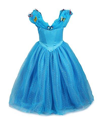 Cinderella Prinzessin Kostüme (Mädchen Prinzessin Cinderella Schmetterlinge Maxi Kleid(Blau,)