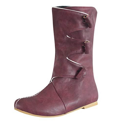 Damen Stiefeletten Serria® Damen Leder Round Toe Ankle Combat Schuhe Western Bequeme Low Heel Fashion Boots rot 38.5 -