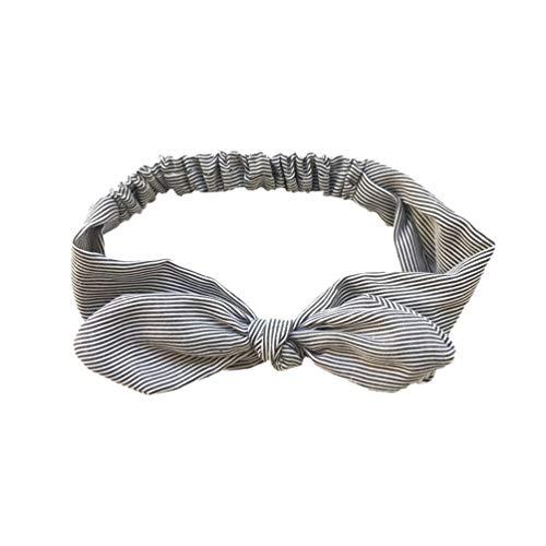 Qinlee Streifen Stirnbänder Verknotet Schleife Haarbänder Elastische Yoga Sport Kopftuch Mädchen Haar Accessoire Dame Freizeit Frisuren Stirnband-Grau