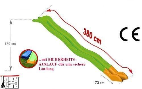 Hangrutsche 3,80m ohne Podest in grün