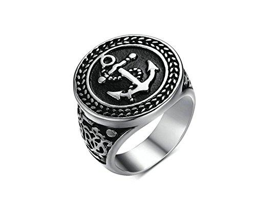 SanJiu Schmuck Herren Ringe Edelstahl Ring Breite 20MM Anker Muster Retro Gotik Biker Punk Klassisch Ring für Herren Silber Schwarz Größe 62 (19.7) Herren Silber Ring Größe 14