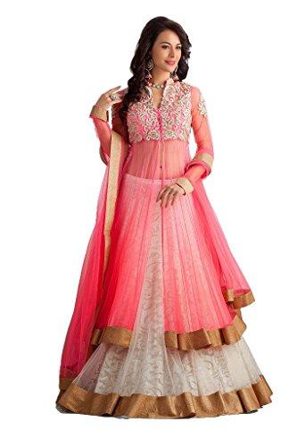 Janasya Women's Unstiched Pink Net Dress