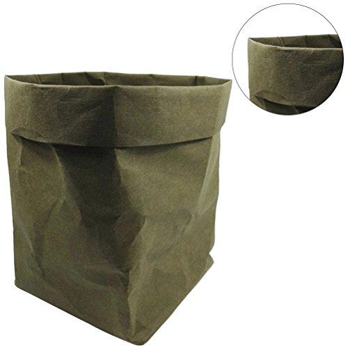 OUNONA Lavable Kraft Papier Récipient Décoratif Papier Réutilisable Sac Organisateur Pot De Fleurs Couvercle Jouet pour la décoration et le stockage Taille 2XL (vert noir)