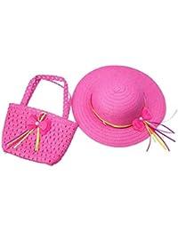 SAMGU Enfant Enfant Filles bowknot paille Chapeau de soleil avec Sac de paille pour 2-6 ans