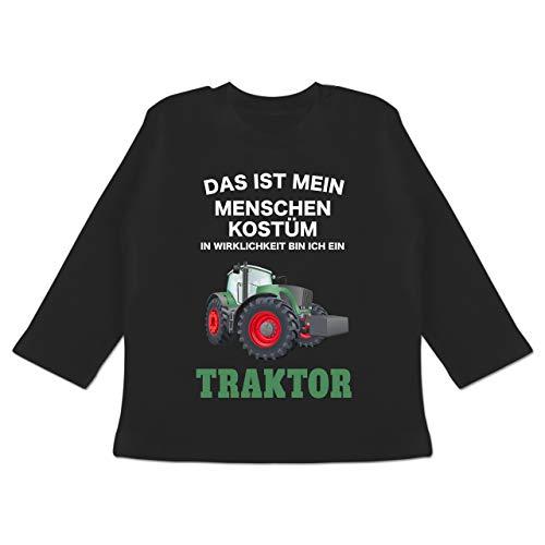 Karneval und Fasching Baby - Das ist Mein Menschen Kostüm in echt Bin ich EIN Traktor - 6-12 Monate - Schwarz - BZ11 - Baby T-Shirt Langarm
