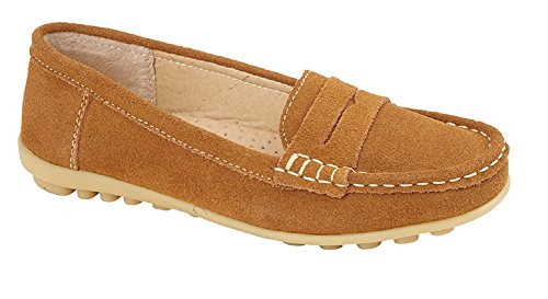 Womens Loafer Shoes Suede Driving Comfortable Flats Summer Deck Size (UK 6, Tan)