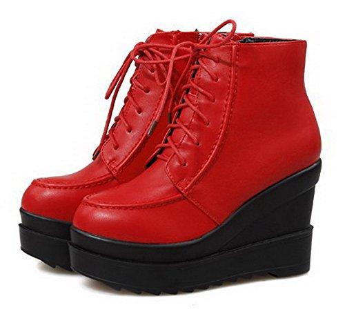 VogueZone009 Donna Tacco Alto Bassa Altezza Puro Cerniera Stivali con Metallo Rosso