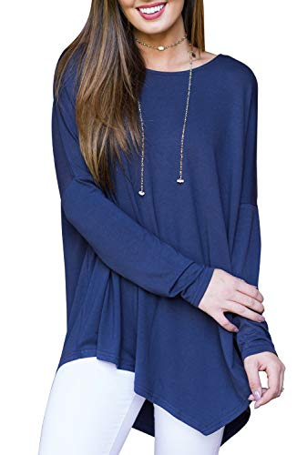 Blooming Jelly Ladies Long Sleeve Top Longline T Shirt Asymmetric Hanky Hem Tunic Boat Neck Jumper For Women Navy Blue,M
