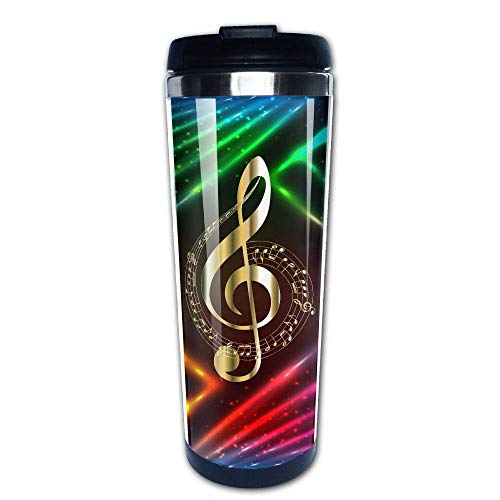 Gold Musical Notes 400ml Stainless Steel Coffee Cup Tea Mug Travel Vacuum Insulated Mugs Hot Cold Tumbler -