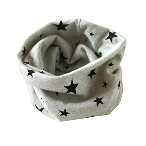 Bufandas de cuello de bebé,RETUROM anillo de venta caliente del invierno del otoño de las muchachas de la impresión del corazón collar de la bufanda del algodón del bebé o bufandas (Gris)