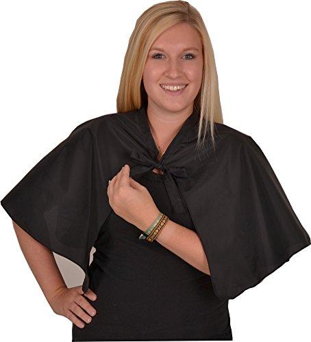 Solida parrucchiere abito in taffetà con cravatta, Nero, 1 pcs