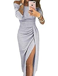 Elapsy Womens Shinny Ruched Thigh Slit Off Shoulder Dress Evening Party  Dresses e1e21a64af57