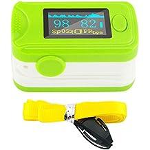 Denshine (TM) nuevo color OLED oximetro de pulso de dedo y monitor de frecuencia cardíaca 24hr memoria–Dedo Oxímetro de pulso–Digital oxígeno en la sangre y pulso Sensor Medidor con Pantalla LED, alarma audio y sonido del pulso–SPO2monitor fingerpulseoximeter pulseoximeter Pulsioxímetro Saturimetro Professional Home uso deportivo