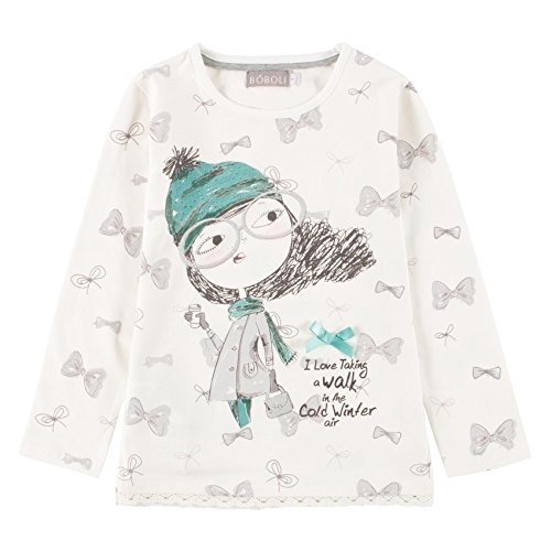 Boboli Stretch Knit For Girl, T-Shirt Bambina, Elfenbein (Off White 1111), 8 anni