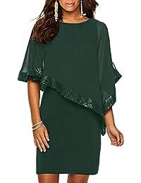 Vestiti Donna Ragazza Invernali di Moda in Pizzo Giuntura Chiffon delle  Abiti Cerimonia Rotondo Collo Corti 65dddb0c259