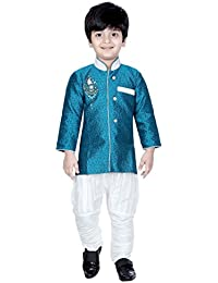 Divinee Turquoise Color Brocade Art Silk Sherwani Set for Boys with Self Design and Embroidery Work