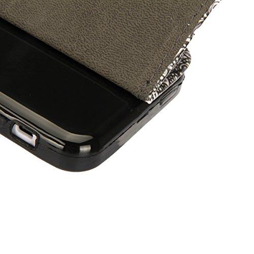 Coque pour iPhone 5C, Etui pour iPhone 5C, ISAKEN Peinture Style PU Cuir Flip Magnétique Portefeuille Etui Housse de Protection Coque Étui Case Cover avec Stand Support et Carte de Crédit Slot pour Ap Fleur Noir