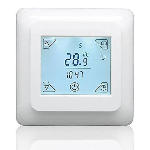 Beok Tst32a-ep écran tactile Thermostat programmable pour chauffage électrique, Smart semaine programmation Digital contrôleur de température ambiante avec détecteur de sol AC230V Panneau circulaire 16A, Blanc