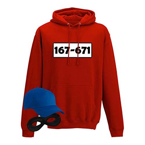 Kostüm Standard Was - Hoodie Panzerknacker Kostüm-Set Wunschnummer Cap Maske Karneval Herren XS - 5XL Fasching JGA Party Sitzung, Größe:3XL, Logo & Set:Standard-Nr./Set komplett (167-761/Hoodie+Cap+Maske+Handschuhe)