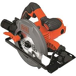 BLACK+DECKER CS1550-QS Scie circulaire filaire - 5500 rpm - Profondeur de coupe : 66 mm - Une lame et un guide parallèle 1500W, Noir,