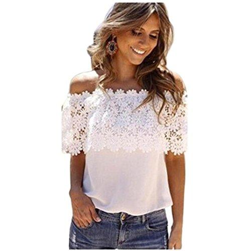 feiXIANG mode frauen Dame lässig tops bluse spitzen häkeln chiffon hemd Chiffon lace stitching lace T-shirt (S, Weiß) (Perlen Tank-top Häkeln)