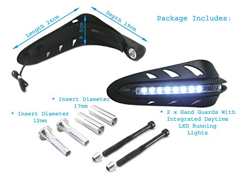 Universal Motorcycle Motorbike Quad Bike Handguards With Inbuilt Daytime Running Lights DRL