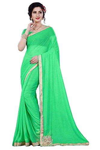 Shree Mira Impex Women's Lycra Sarees Sari(Green_Free_Size)
