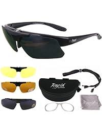 Innovation Plus Noir Rx LUNETTES DE SOLEIL SPORT POLARISÉES. Verres interchangeables (x4) Pour hommes et femmes. Protection anti UV 400