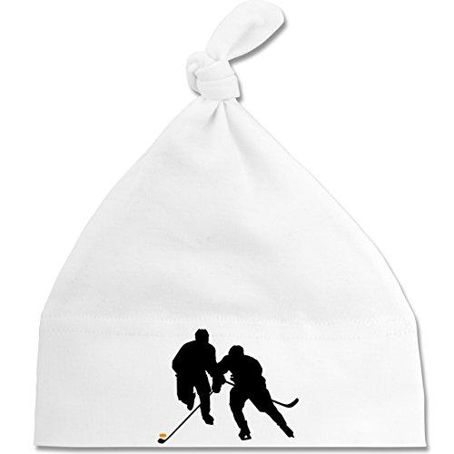 Sport Baby - Eishockeyspieler - Unisize - Weiß - BZ15 - Baby Mütze mit einfachem Knoten als Geschenkidee