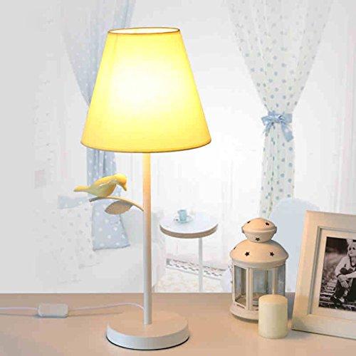 DLewiee Kindertischlampe Modernen Minimalistischen Dekorativen Vogel Kreative Eisen-Lampe Wohnzimmer Schlafzimmer Nachttischlampe Als Lichtlampe Gelb Schatten Tuch Auge Led E27