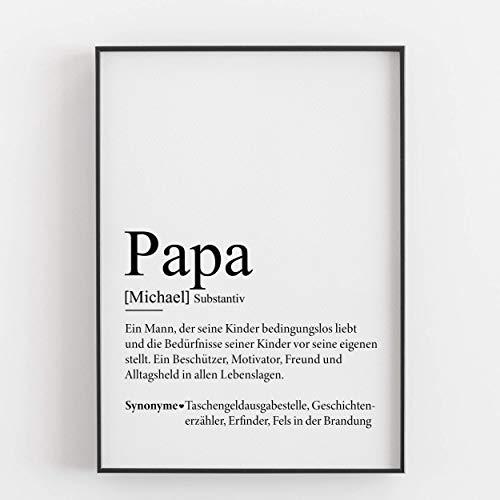 Papa Geschenkidee Vatertagsgeschenk personalisiert Geburtstagsgeschenk Weihnachtsgeschenk Vater Defintion Geschenk persönlich Kunstdruck Bild - ungerahmt