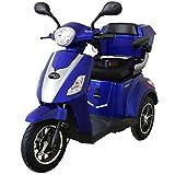 Rolektro E-Trike 25 V.2 Blau Dreirad Elektroroller 1000W 25 Km/H RW 50KM Stockhalter Koffer USB EU-Zulassung
