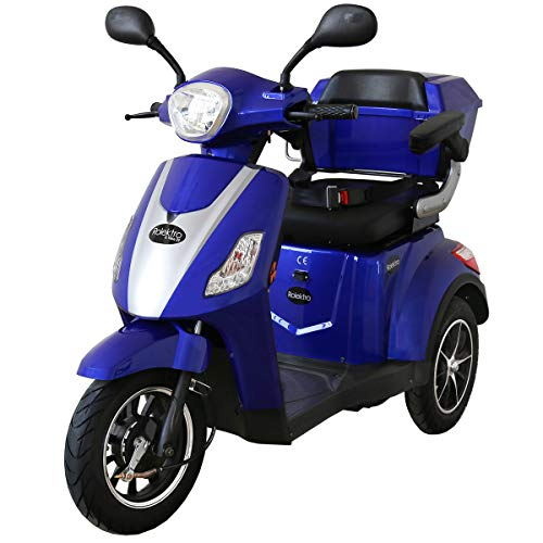 Rw-3 Farbe (Rolektro E-Trike 25 V.2 Blau Dreirad Elektroroller 1000W 25 Km/H RW 50KM Stockhalter Koffer USB EU-Zulassung)