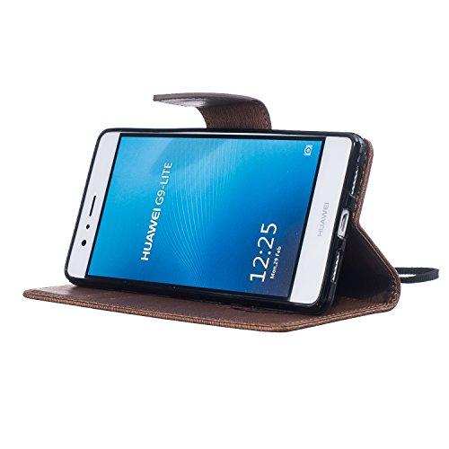 Cover Huawei P9 Lite 2016, Custodia Huawei P9 Lite 2016, Sunroyal [RFID Blocco Portafoglio] Bling Diamante Custodia 100% da del Raccoglitore Manofatto Basamento per Carta di Credito Copertura protetti Modello 11