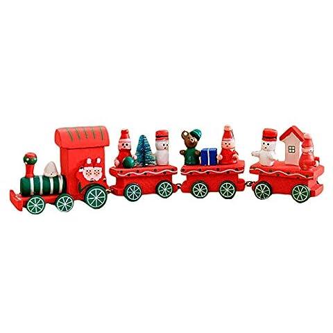 Weihnachten Dekoration Holz Zug Kinder Geschenk - Juleya Xmas Party Festival Kind Ornament Dekor Geschenke Spielzeug Rot