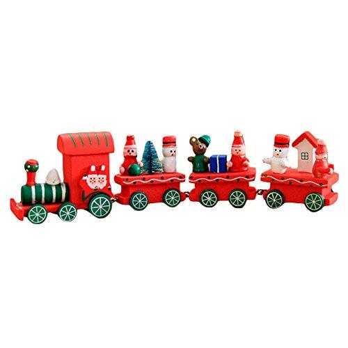 Décoration de Noël Train en bois Cadeau pour enfants - Juleya Festival de fête de Noël Décor d'enfant Décor Cadeaux Jouets Rouge