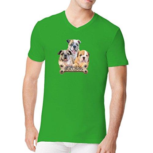 Im-Shirt - Kleine Bulldoggen mit Hundeknochen cooles Fun Men V-Neck - verschiedene Farben Kelly Green